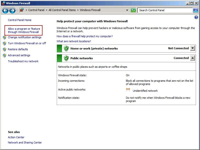 how to allow wmi through windows 7 firewall