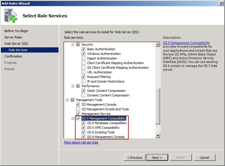 IIS6 Management Compatibility