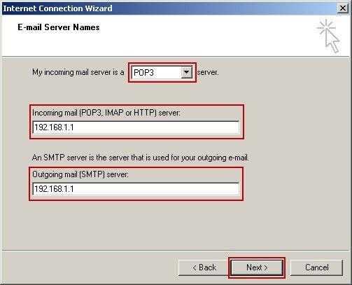 E-mail Server Name