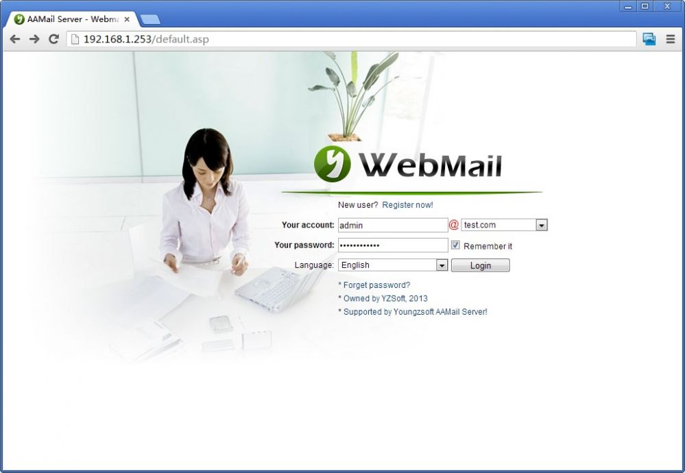 Webmail Login Interface